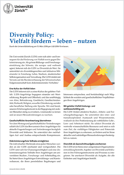 Diversity Policy der Universität Zürich (Cover)